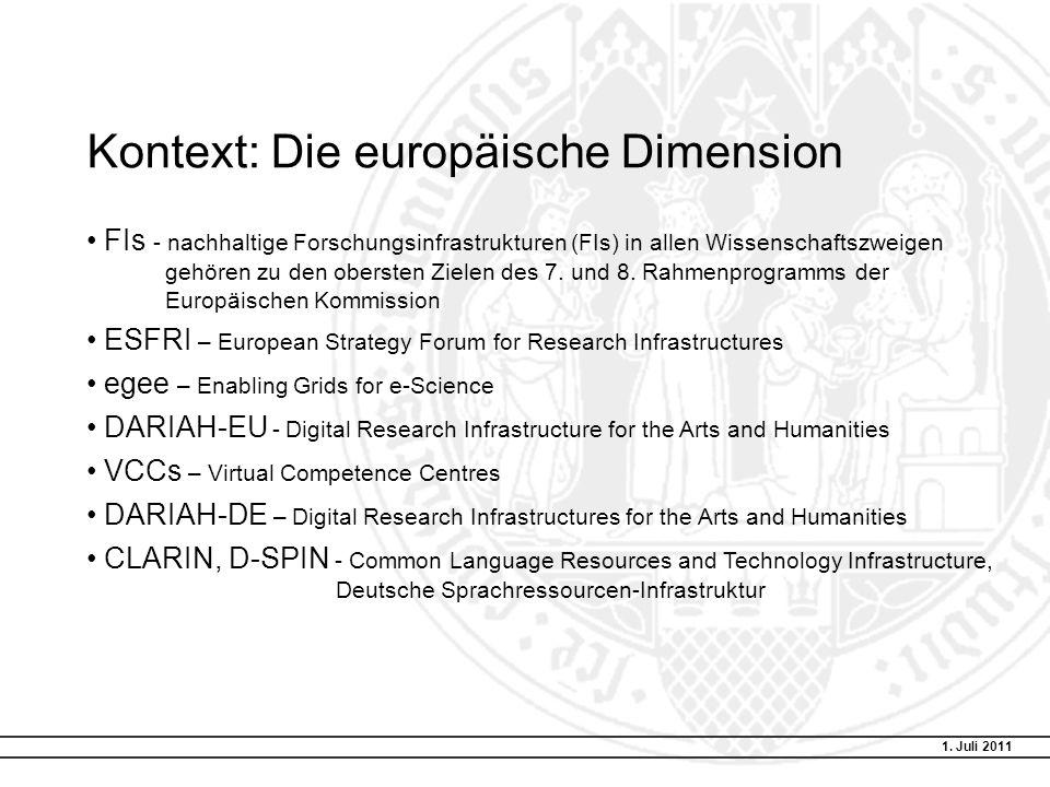 Kontext: Die europäische Dimension FIs - nachhaltige Forschungsinfrastrukturen (FIs) in allen Wissenschaftszweigen gehören zu den obersten Zielen des 7.