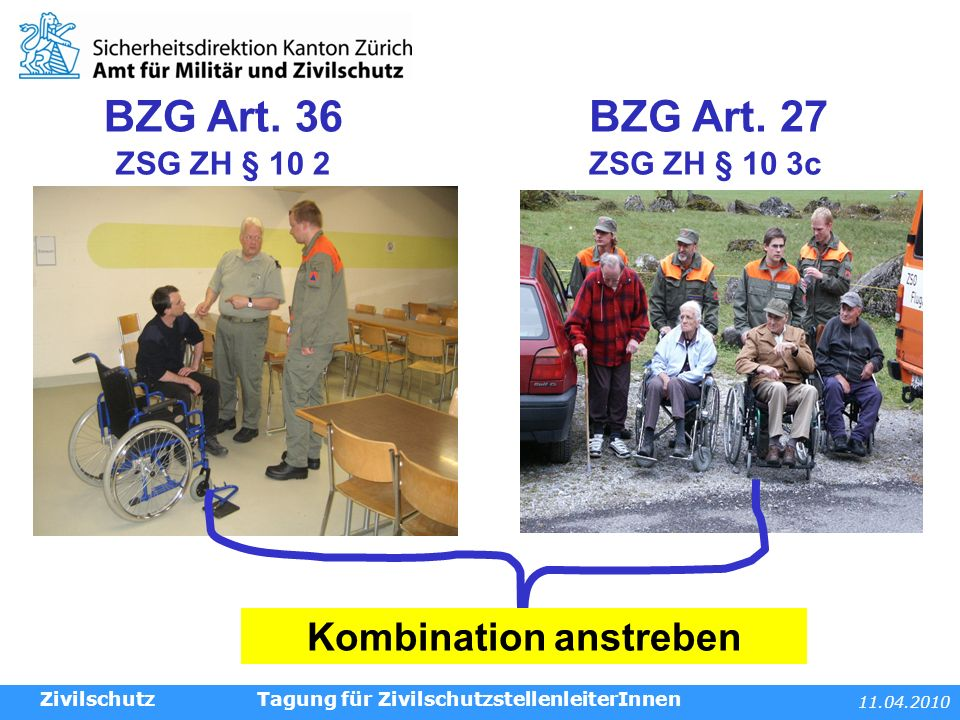11.04.2010 Tagung für ZivilschutzstellenleiterInnenZivilschutz WK Artikel BZG Art.