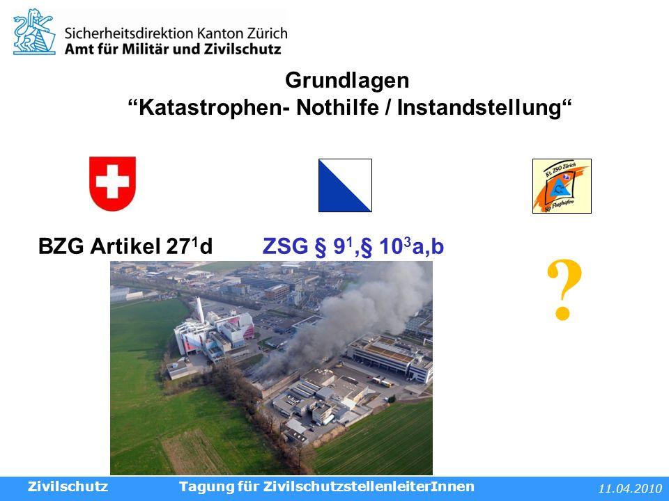 11.04.2010 Tagung für ZivilschutzstellenleiterInnen Grundlagen Katastrophen- Nothilfe / Instandstellung BZG Artikel 27 1 dZSG § 9 1,§ 10 3 a,b .