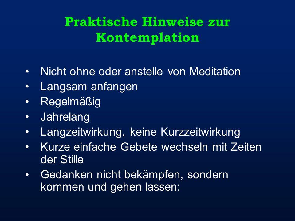 Praktische Hinweise zur Kontemplation Nicht ohne oder anstelle von Meditation Langsam anfangen Regelmäßig Jahrelang Langzeitwirkung, keine Kurzzeitwir
