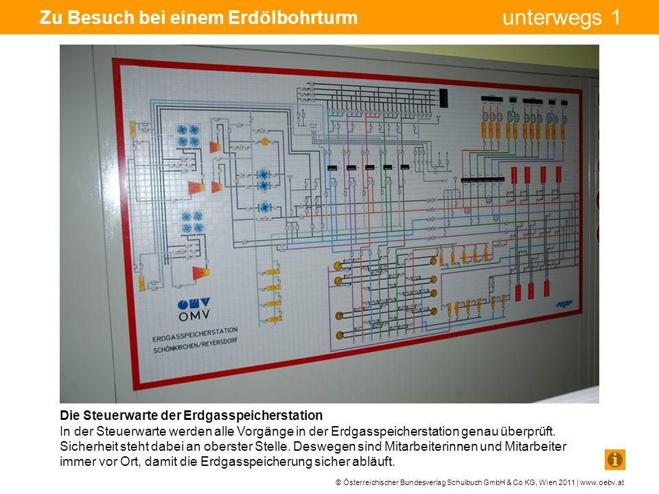 © Österreichischer Bundesverlag Schulbuch GmbH & Co KG, Wien 2011 | www.oebv.at unterwegs 1 Zu Besuch bei einem Erdölbohrturm Die Steuerwarte der Erdgasspeicherstation In der Steuerwarte werden alle Vorgänge in der Erdgasspeicherstation genau überprüft.
