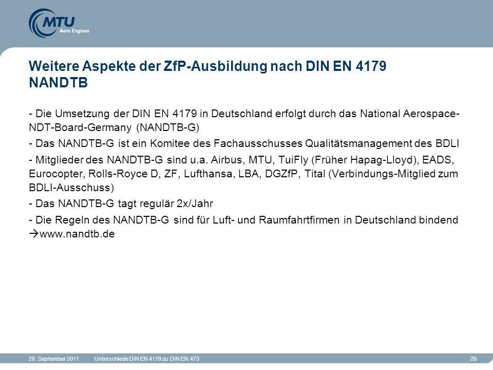 28. September 2011Unterschiede DIN EN 4179 zu DIN EN 47326 Weitere Aspekte der ZfP-Ausbildung nach DIN EN 4179 NANDTB - Die Umsetzung der DIN EN 4179