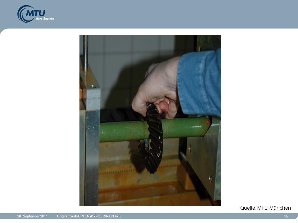 28. September 2011Unterschiede DIN EN 4179 zu DIN EN 47335 Quelle: MTU München