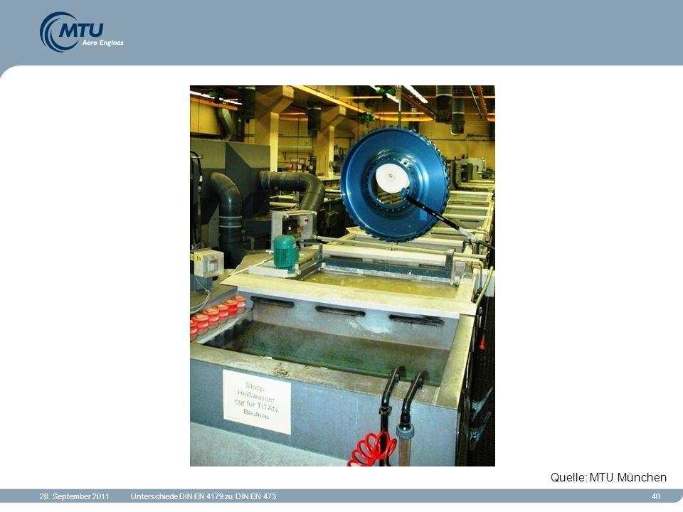 28. September 2011Unterschiede DIN EN 4179 zu DIN EN 47340 Quelle: MTU München