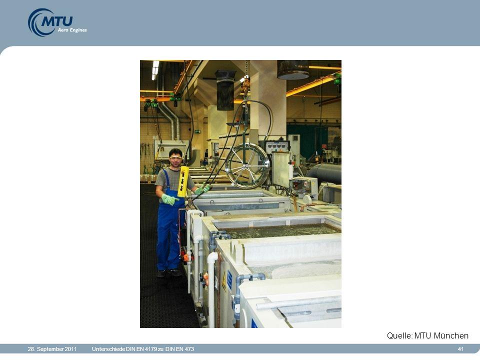 28. September 2011Unterschiede DIN EN 4179 zu DIN EN 47341 Quelle: MTU München