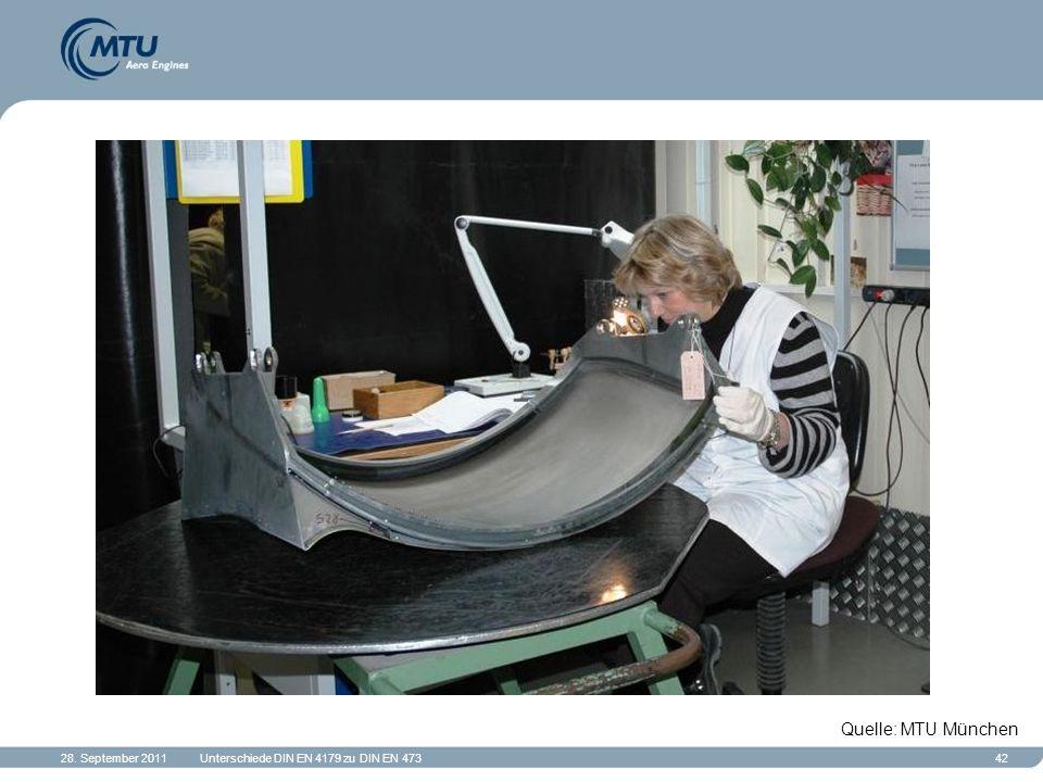 28. September 2011Unterschiede DIN EN 4179 zu DIN EN 47342 Quelle: MTU München