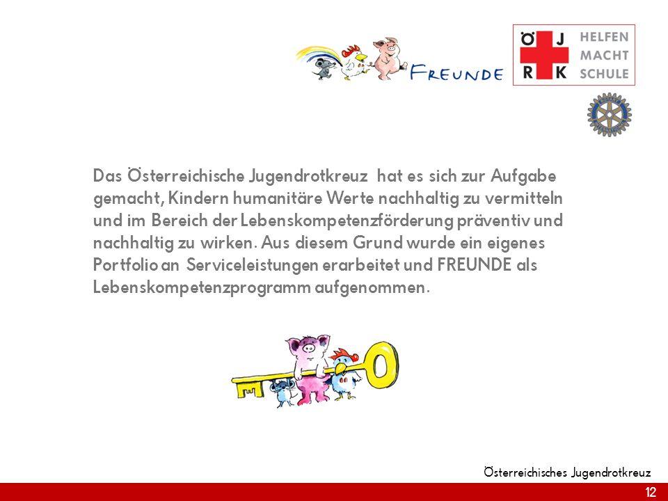 12 Österreichisches Jugendrotkreuz 12 Das Österreichische Jugendrotkreuz hat es sich zur Aufgabe gemacht, Kindern humanitäre Werte nachhaltig zu vermitteln und im Bereich der Lebenskompetenzförderung präventiv und nachhaltig zu wirken.