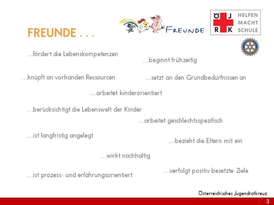 3 Österreichisches Jugendrotkreuz 3 FREUNDE... …fördert die Lebenskompetenzen …beginnt frühzeitig …knüpft an vorhanden Ressourcen …setzt an den Grundb