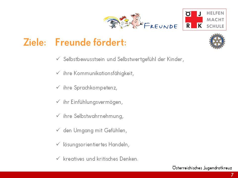 7 Österreichisches Jugendrotkreuz 7 Ziele: Freunde fördert: Selbstbewusstsein und Selbstwertgefühl der Kinder, ihre Kommunikationsfähigkeit, ihre Sprachkompetenz, ihr Einfühlungsvermögen, ihre Selbstwahrnehmung, den Umgang mit Gefühlen, lösungsorientiertes Handeln, kreatives und kritisches Denken.