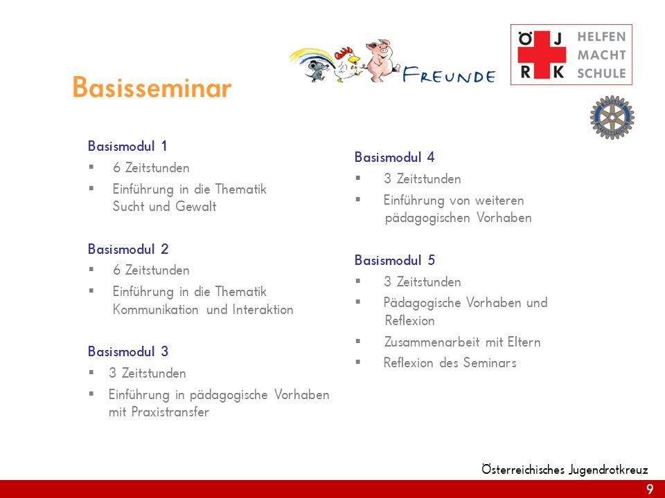 9 Österreichisches Jugendrotkreuz Basisseminar Basismodul 1 6 Zeitstunden Einführung in die Thematik Sucht und Gewalt Basismodul 2 6 Zeitstunden Einfü
