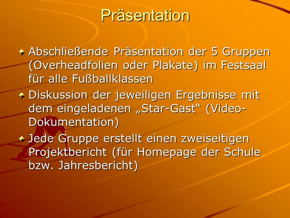 Präsentation Abschließende Präsentation der 5 Gruppen (Overheadfolien oder Plakate) im Festsaal für alle Fußballklassen Diskussion der jeweiligen Erge