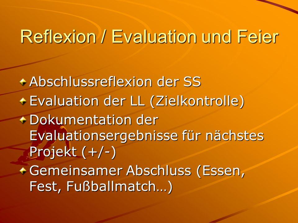 Reflexion / Evaluation und Feier Abschlussreflexion der SS Evaluation der LL (Zielkontrolle) Dokumentation der Evaluationsergebnisse für nächstes Proj