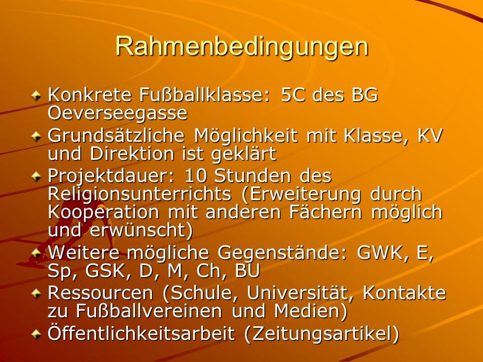 Rahmenbedingungen Konkrete Fußballklasse: 5C des BG Oeverseegasse Grundsätzliche Möglichkeit mit Klasse, KV und Direktion ist geklärt Projektdauer: 10