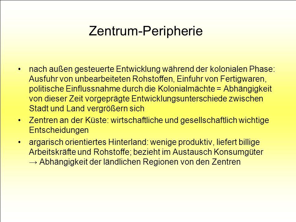 Zentrum-Peripherie nach außen gesteuerte Entwicklung während der kolonialen Phase: Ausfuhr von unbearbeiteten Rohstoffen, Einfuhr von Fertigwaren, pol