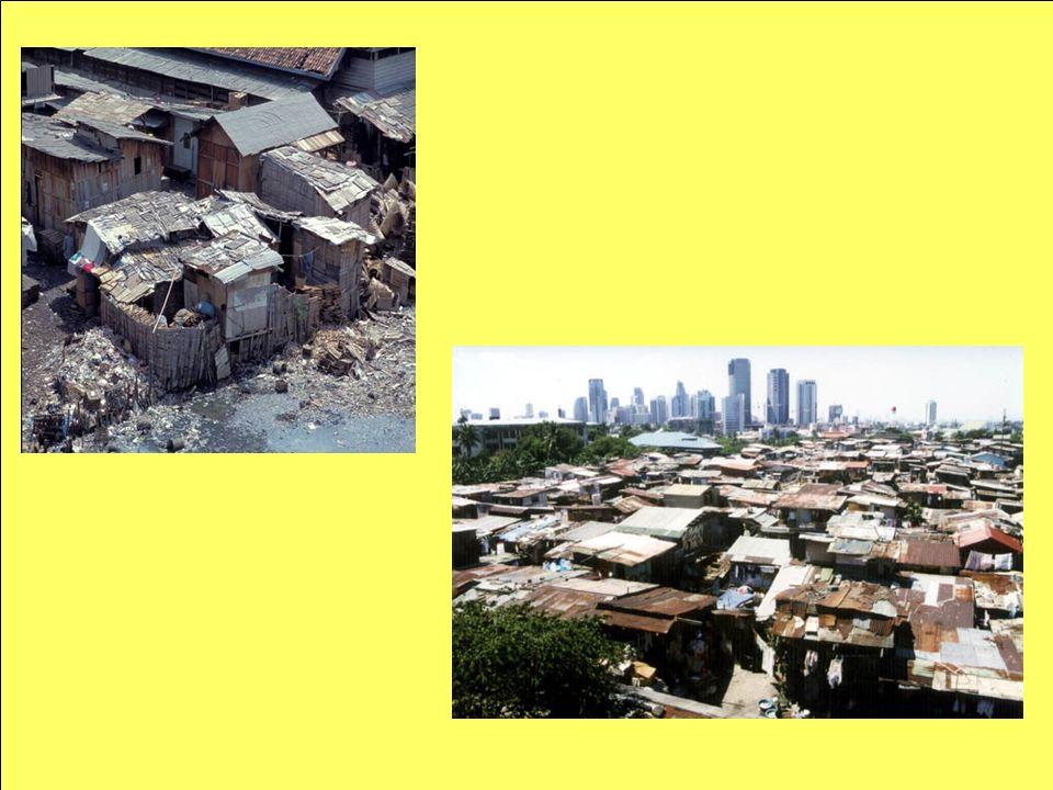 Verstädterung und Metropolisierung Verstädterungsprozess nimmt in den Entwicklungsländern bedrohliche Ausmaße an Verstädterungsgrad zeigt regional große Unterschiede: Lateinamerika und Teile Asiens haben einen hohen, die Länder Afrikas einen niedrigen Verstädterungsgrad städtische Bevölkerung der Entwicklungsländer nahm 1965 und 1990 um 177% zu explosives Wachstum der Millionenstädte ist besorgniserregend regionale Disparitäten werden vergrößert, Ausbreitung der Slums