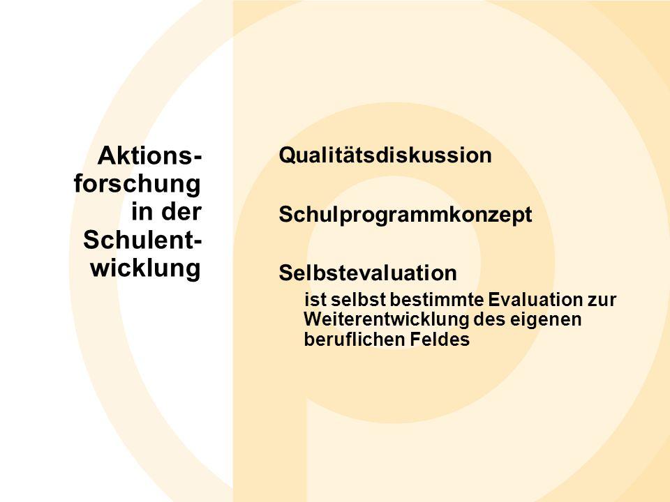 Qualitätsdiskussion Schulprogrammkonzept Selbstevaluation ist selbst bestimmte Evaluation zur Weiterentwicklung des eigenen beruflichen Feldes Aktions- forschung in der Schulent- wicklung