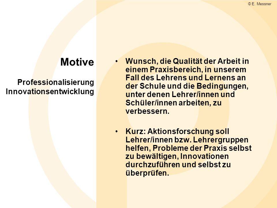 Motive Professionalisierung Innovationsentwicklung Wunsch, die Qualität der Arbeit in einem Praxisbereich, in unserem Fall des Lehrens und Lernens an der Schule und die Bedingungen, unter denen Lehrer/innen und Schüler/innen arbeiten, zu verbessern.