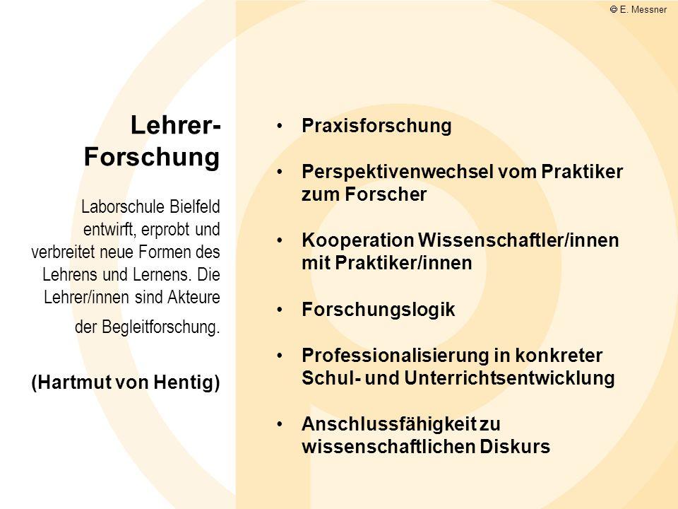 Lehrer- Forschung Laborschule Bielfeld entwirft, erprobt und verbreitet neue Formen des Lehrens und Lernens. Die Lehrer/innen sind Akteure der Begleit