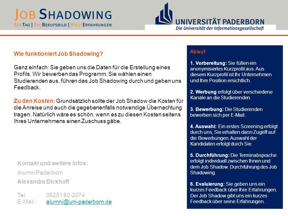Wie funktioniert Job Shadowing? Ganz einfach: Sie geben uns die Daten für die Erstellung eines Profils. Wir bewerben das Programm, Sie wählen einen St