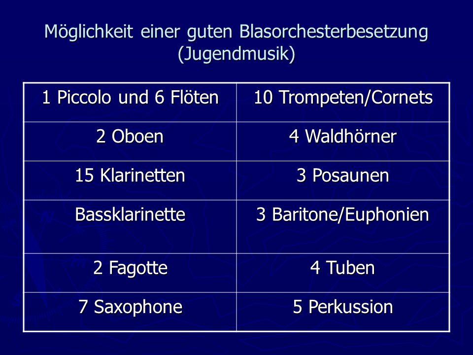 Möglichkeit einer guten Blasorchesterbesetzung (Jugendmusik) 1 Piccolo und 6 Flöten 10 Trompeten/Cornets 2 Oboen 4 Waldhörner 15 Klarinetten 3 Posaunen Bassklarinette 3 Baritone/Euphonien 2 Fagotte 4 Tuben 7 Saxophone 5 Perkussion