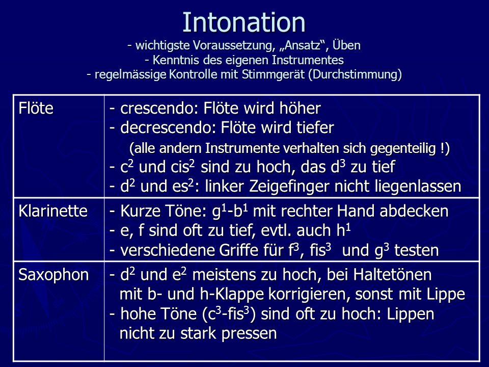 Intonation - wichtigste Voraussetzung, Ansatz, Üben - Kenntnis des eigenen Instrumentes - regelmässige Kontrolle mit Stimmgerät (Durchstimmung) Flöte - crescendo: Flöte wird höher - decrescendo: Flöte wird tiefer (alle andern Instrumente verhalten sich gegenteilig !) - c und cis sind zu hoch, das d zu tief - d und es: linker Zeigefinger nicht liegenlassen - crescendo: Flöte wird höher - decrescendo: Flöte wird tiefer (alle andern Instrumente verhalten sich gegenteilig !) - c 2 und cis 2 sind zu hoch, das d 3 zu tief - d 2 und es 2 : linker Zeigefinger nicht liegenlassen Klarinette - Kurze Töne: g-b mit rechter Hand abdecken - e, f sind oft zu tief, evtl.