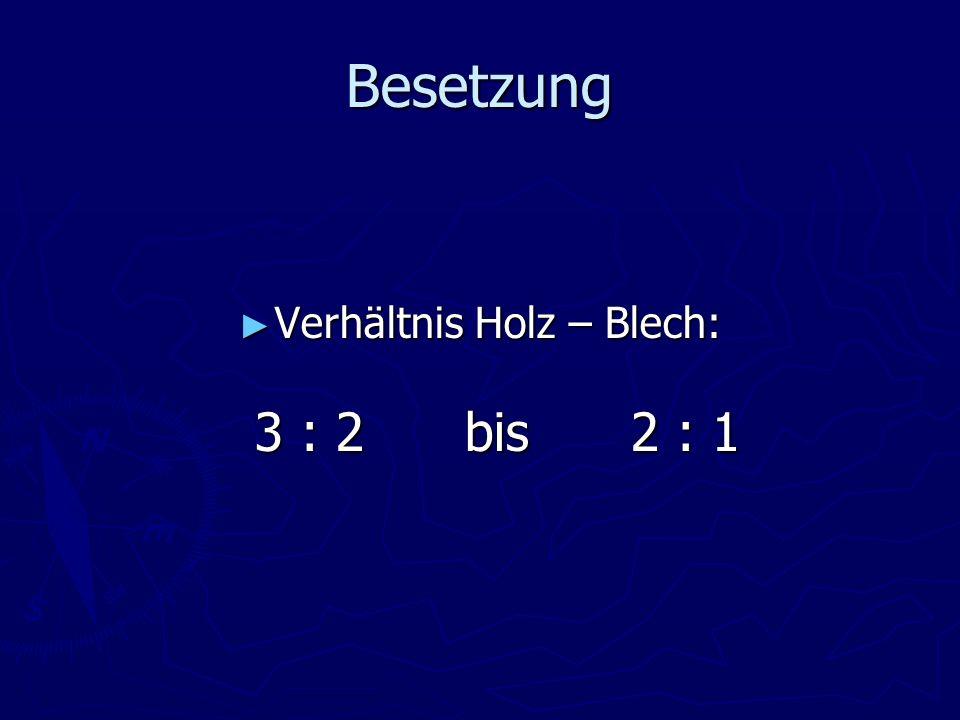 Besetzung Verhältnis Holz – Blech: 3 : 2 bis 2 : 1 Verhältnis Holz – Blech: 3 : 2 bis 2 : 1