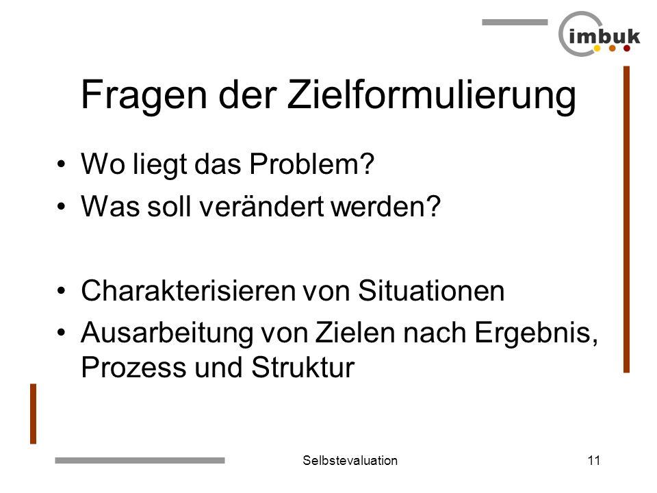 Selbstevaluation11 Fragen der Zielformulierung Wo liegt das Problem? Was soll verändert werden? Charakterisieren von Situationen Ausarbeitung von Ziel
