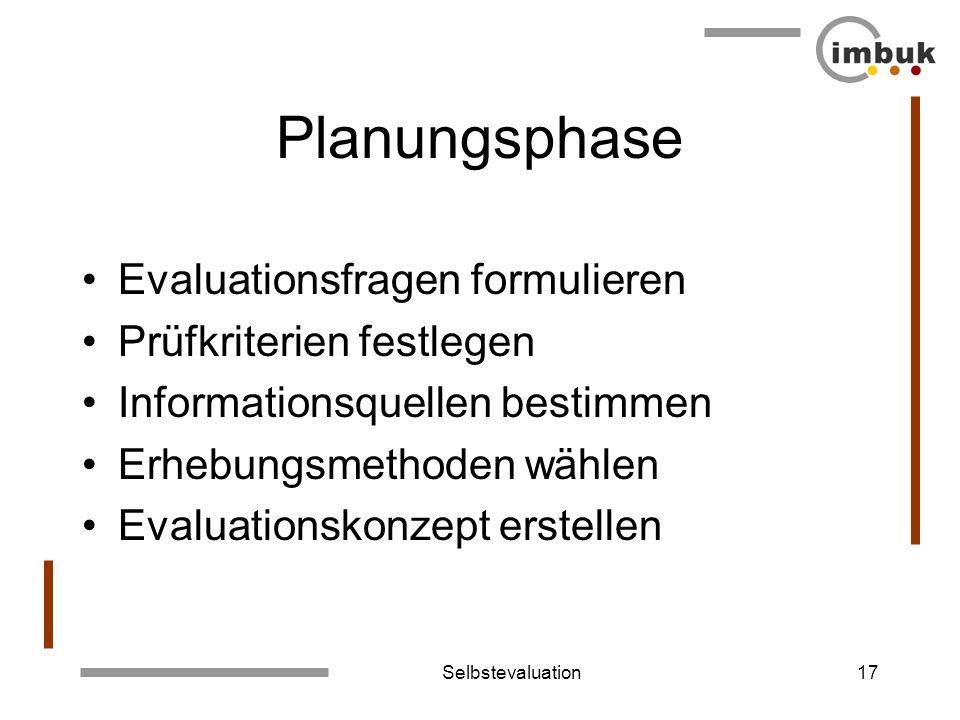 Selbstevaluation17 Planungsphase Evaluationsfragen formulieren Prüfkriterien festlegen Informationsquellen bestimmen Erhebungsmethoden wählen Evaluati