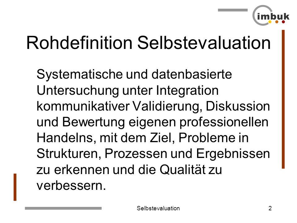 Selbstevaluation2 Rohdefinition Selbstevaluation Systematische und datenbasierte Untersuchung unter Integration kommunikativer Validierung, Diskussion