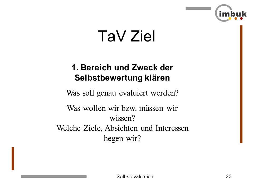 Selbstevaluation23 TaV Ziel 1. Bereich und Zweck der Selbstbewertung klären Was soll genau evaluiert werden? Was wollen wir bzw. müssen wir wissen? We
