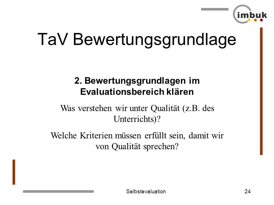 Selbstevaluation24 TaV Bewertungsgrundlage 2. Bewertungsgrundlagen im Evaluationsbereich klären Was verstehen wir unter Qualität (z.B. des Unterrichts