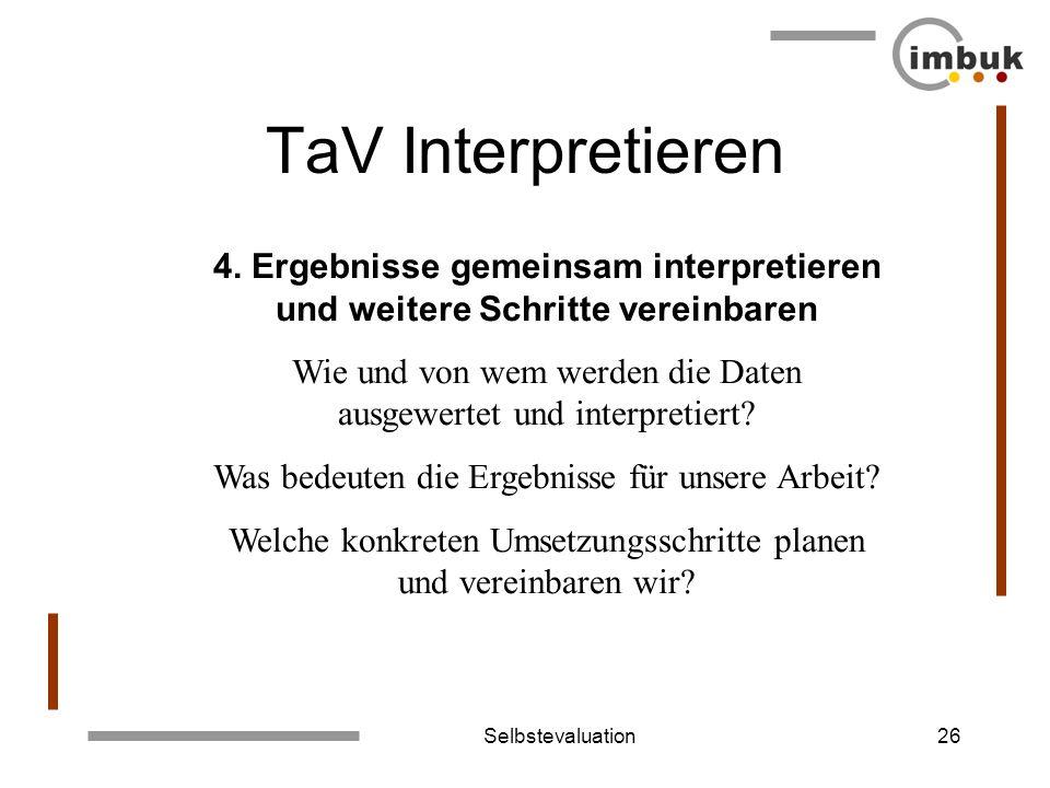 Selbstevaluation26 TaV Interpretieren 4. Ergebnisse gemeinsam interpretieren und weitere Schritte vereinbaren Wie und von wem werden die Daten ausgewe