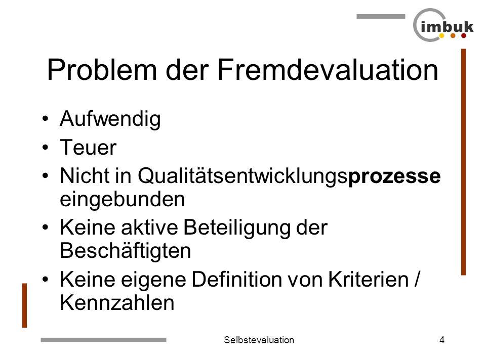 Selbstevaluation4 Problem der Fremdevaluation Aufwendig Teuer Nicht in Qualitätsentwicklungsprozesse eingebunden Keine aktive Beteiligung der Beschäft