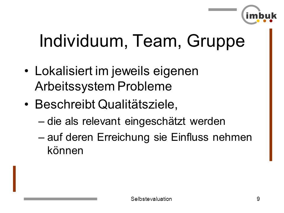 Selbstevaluation9 Individuum, Team, Gruppe Lokalisiert im jeweils eigenen Arbeitssystem Probleme Beschreibt Qualitätsziele, –die als relevant eingesch