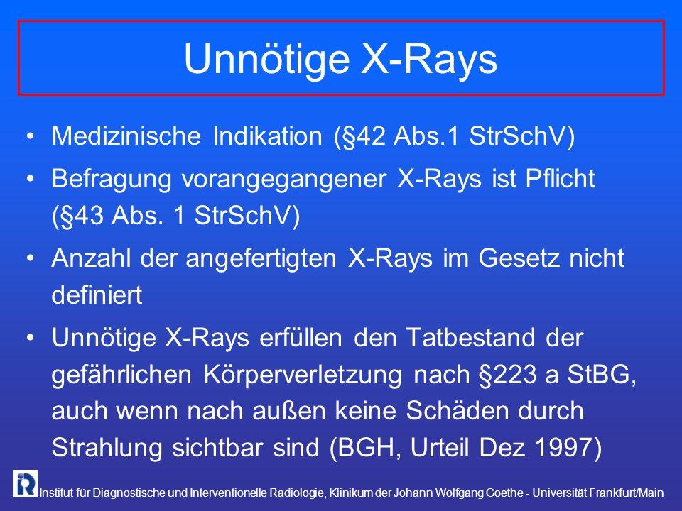 Institut für Diagnostische und Interventionelle Radiologie, Klinikum der Johann Wolfgang Goethe - Universität Frankfurt/Main Unnötige X-Rays Medizinis