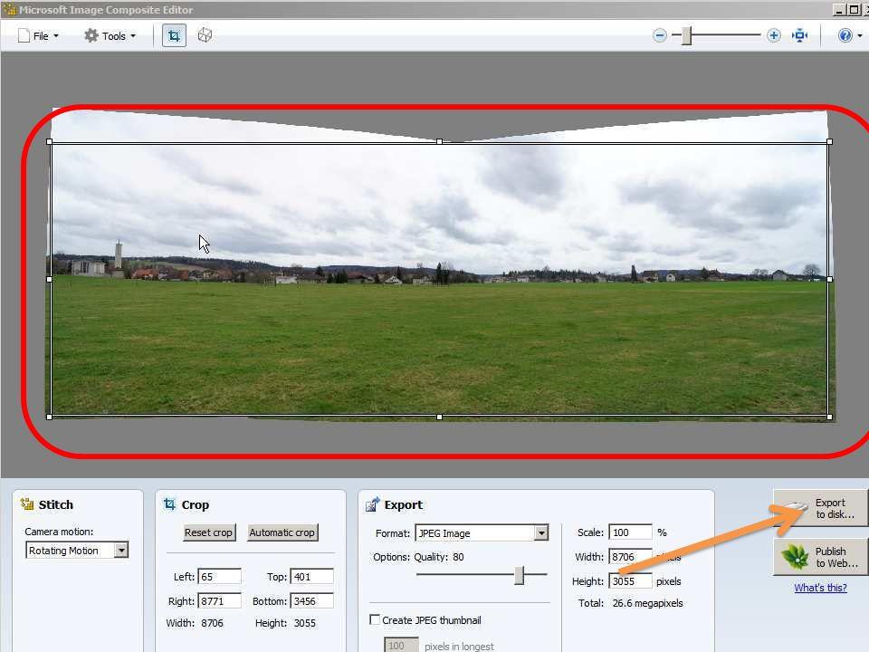 PanoramaPlus Das Programm Starter Edition führt durch Vorgang.
