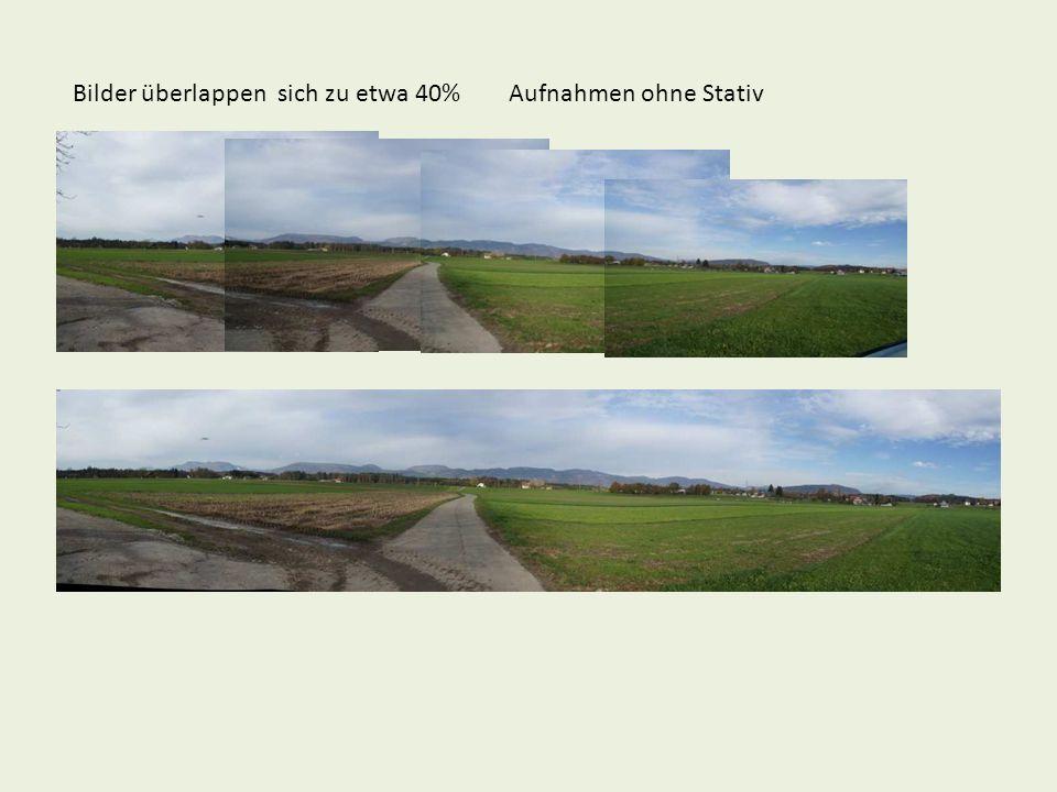 Bilder überlappen sich zu etwa 40% Aufnahmen ohne Stativ
