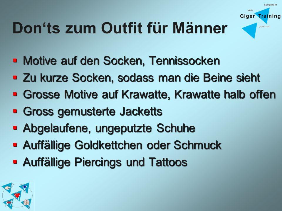 Donts zum Outfit für Männer Motive auf den Socken, Tennissocken Motive auf den Socken, Tennissocken Zu kurze Socken, sodass man die Beine sieht Zu kur