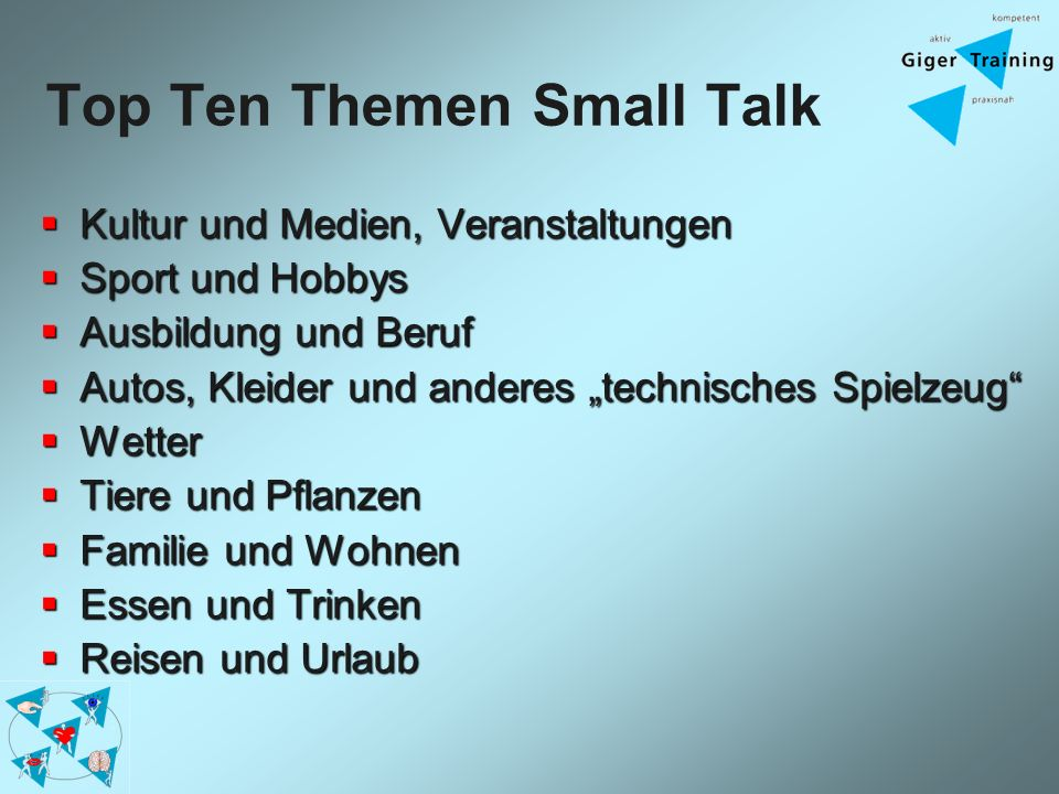 Top Ten Themen Small Talk Kultur und Medien, Veranstaltungen Kultur und Medien, Veranstaltungen Sport und Hobbys Sport und Hobbys Ausbildung und Beruf