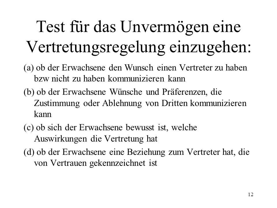Test für das Unvermögen eine Vertretungsregelung einzugehen: 12 (a) ob der Erwachsene den Wunsch einen Vertreter zu haben bzw nicht zu haben kommunizi