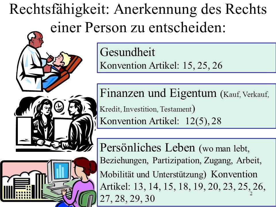 Rechtsfähigkeit: Anerkennung des Rechts einer Person zu entscheiden: Gesundheit Konvention Artikel: 15, 25, 26 Persönliches Leben ( wo man lebt, Bezie