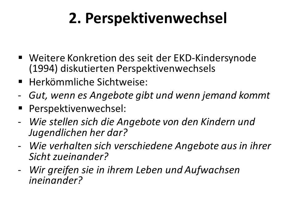 2. Perspektivenwechsel Weitere Konkretion des seit der EKD-Kindersynode (1994) diskutierten Perspektivenwechsels Herkömmliche Sichtweise: - Gut, wenn