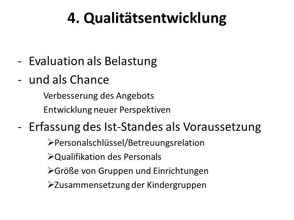 4. Qualitätsentwicklung -Evaluation als Belastung -und als Chance Verbesserung des Angebots Entwicklung neuer Perspektiven -Erfassung des Ist-Standes