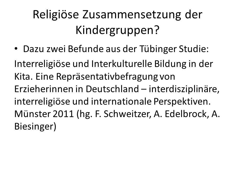 Religiöse Zusammensetzung der Kindergruppen? Dazu zwei Befunde aus der Tübinger Studie: Interreligiöse und Interkulturelle Bildung in der Kita. Eine R
