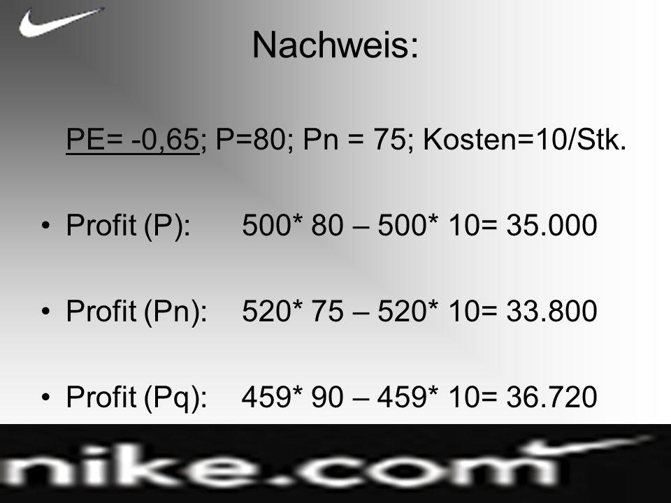 Nachweis: PE= -0,65PE= -0,65; P=80; Pn = 75; Kosten=10/Stk.