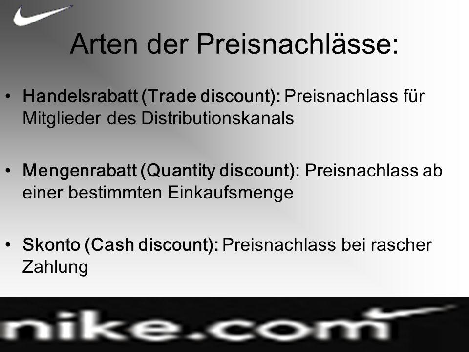 Arten der Preisnachlässe: Handelsrabatt (Trade discount): Preisnachlass für Mitglieder des Distributionskanals Mengenrabatt (Quantity discount): Preisnachlass ab einer bestimmten Einkaufsmenge Skonto (Cash discount): Preisnachlass bei rascher Zahlung