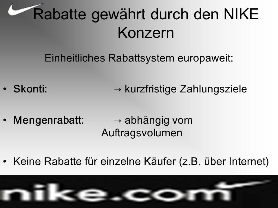 Rabatte gewährt durch den NIKE Konzern Einheitliches Rabattsystem europaweit: Skonti: kurzfristige Zahlungsziele Mengenrabatt: abhängig vom Auftragsvolumen Keine Rabatte für einzelne Käufer (z.B.
