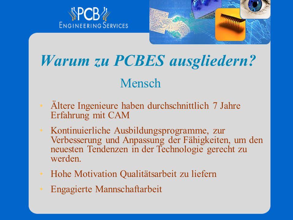 Warum zu PCBES ausgliedern? Ältere Ingenieure haben durchschnittlich 7 Jahre Erfahrung mit CAM Kontinuierliche Ausbildungsprogramme, zur Verbesserung