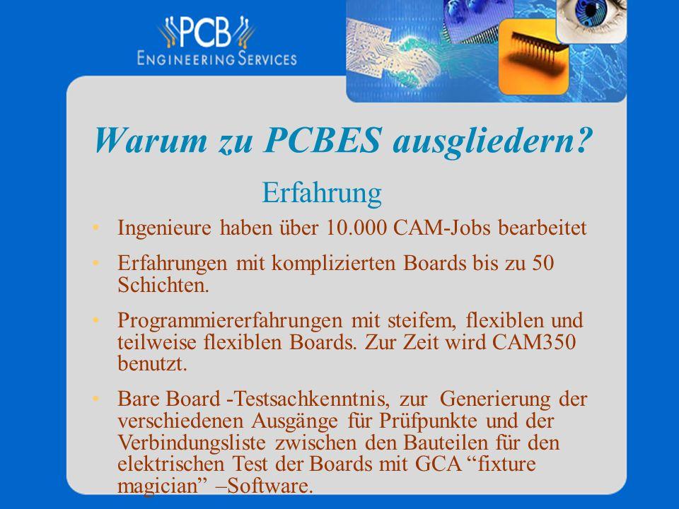 Warum zu PCBES ausgliedern? Ingenieure haben über 10.000 CAM-Jobs bearbeitet Erfahrungen mit komplizierten Boards bis zu 50 Schichten. Programmiererfa