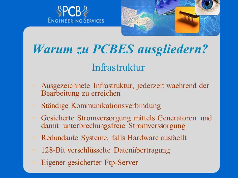 Warum zu PCBES ausgliedern? Ausgezeichnete Infrastruktur, jederzeit waehrend der Bearbeitung zu erreichen Ständige Kommunikationsverbindung Gesicherte